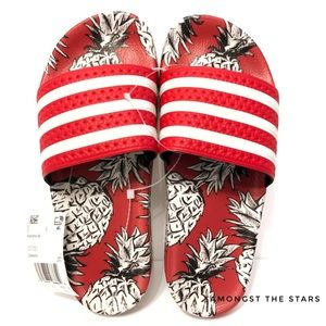 adidas x The Farm Adilette Pineapple Red Slides